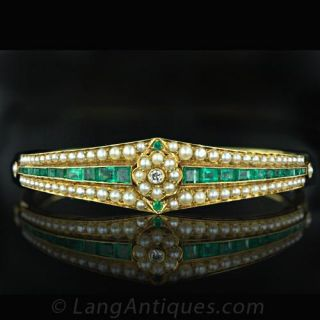 Emerald   Seed Pearl Necklace Main View