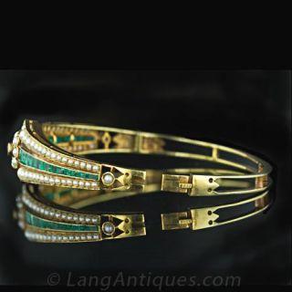 Turn of the Century Emerald & Seed Pearl Bangle Bracelet