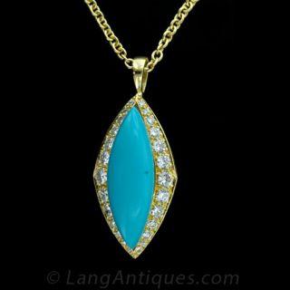 Turquoise and Diamond Pendant Main View