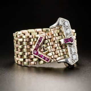 Two-Tone Gold Retro Buckle Ring