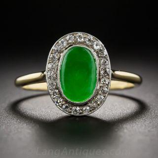 Two-Tone Natural Jade and Diamond Halo Ring