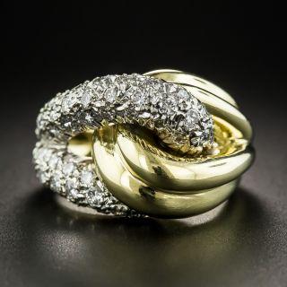 Two-Tone Pavé Diamond Knot Ring - 1
