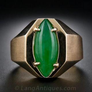 Unisex Jade Navette Ring