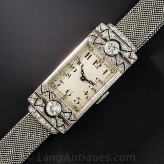 Vacheron & Constantin Diamond Platinum Mesh Art Deco Bracelet Watch