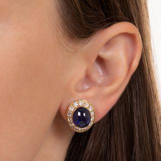 Van Cleef & Arpels Cabochon Sapphire and Diamond Earrings