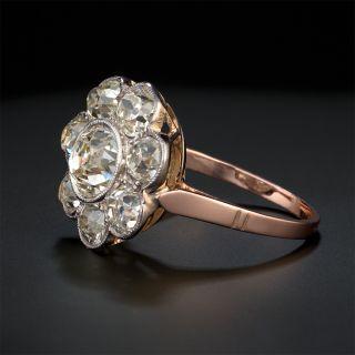 Victorian 1.00 Carat Center Diamond Flower Cluster Ring - GIA L SI1