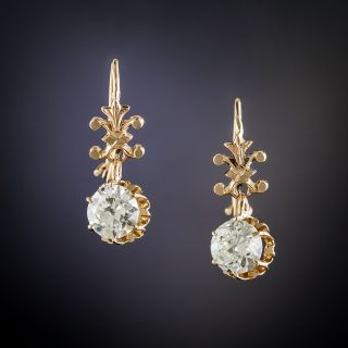 Victorian 1.10 Carat Diamond Dangle Earrings - 2
