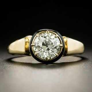 Victorian 1.14 Carat Diamond and Enamel Solitaire Ring - GIA N VS2 - 3