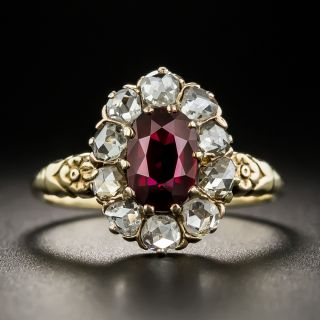 Victorian 1.22 Carat No-Heat Thai Ruby and Diamond Cluster Ring - 1