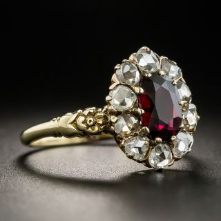 Victorian 1.22 Carat No-Heat Thai Ruby and Diamond Cluster Ring