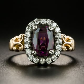 Victorian 1.50 Carat Purple Spinel and Diamond Cluster Ring - 1