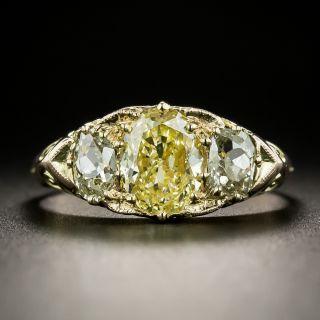 Victorian 1.70 Carat Fancy Yellow Oval Diamond Three-Stone Ring - GIA - 2