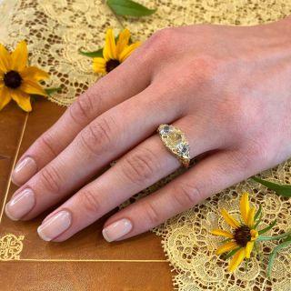 Victorian 1.70 Carat Fancy Yellow Oval Diamond Three-Stone Ring - GIA
