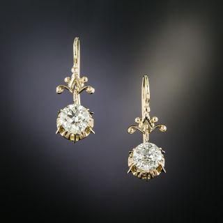 Victorian 1.83 Carat Total Weight Diamond Dangle Earrings - GIA - 2