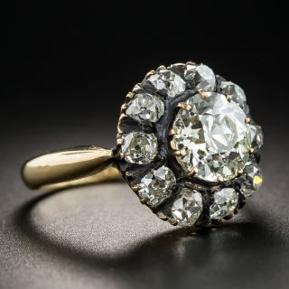 Victorian 1.85 Carat Diamond Cluster Ring - GIA