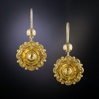 Victorian 15K Gold Drop Earrings - 2