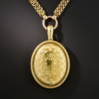 Victorian 15K Locket Necklace - 2