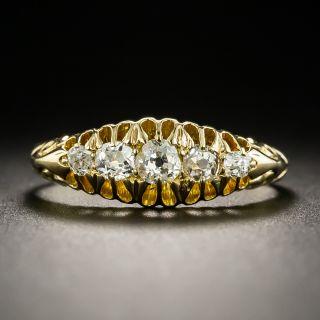 Victorian 18K Five-Stone Diamond Band Ring - 4