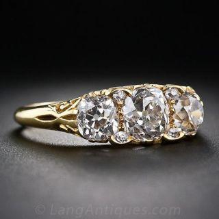 Victorian 18k Gold Three Diamond Ring