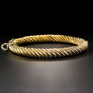 Victorian 18K Gold Twisted Bangle Bracelet