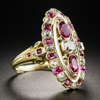 Victorian 18K Ruby and Diamond Dinner Ring