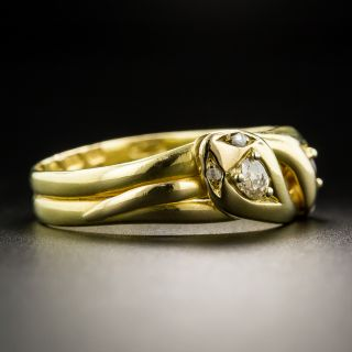 Victorian 18K Ruby Diamond Double Snake Ring