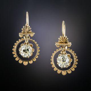 Victorian 2.04 Carat Diamond Drop Earrings - 2