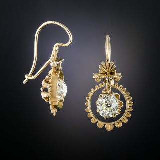 Victorian 2.04 Carat Diamond Drop Earrings