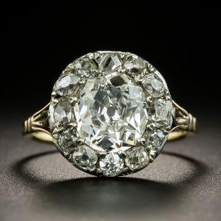 Early Victorian 2.04 Carat Old Mine Cut Diamond Halo Ring - GIA G SI2 - 3
