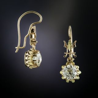 Victorian 2.08 Carat Diamond Drop Earrings - GIA - 2