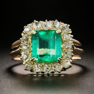 Victorian 2.35 Carat Emerald and Diamond Ring - 2