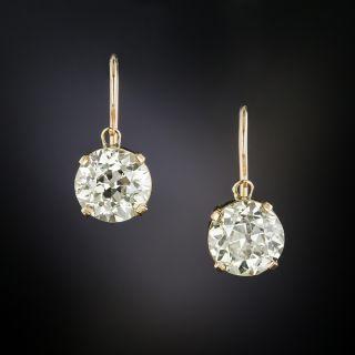 Victorian 3.23 Carat Total Weight European-Cut Diamond Drop Earrings - GIA - 4