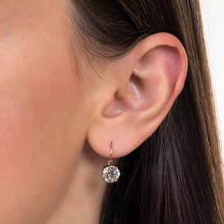 Victorian 3.23 Carat Total Weight European-Cut Diamond Drop Earrings - GIA