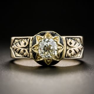 Victorian .55 Carat Diamond Enamel Ring - 2