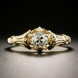 Victorian .55 Carat Solitaire Diamond Engagement Ring - 2