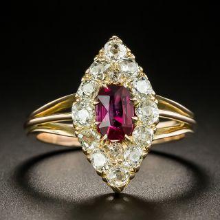 Victorian .56 Carat No-Heat Burmese Ruby and Diamond Navette Ring - GIA - 2
