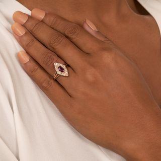 Victorian .56 Carat No-Heat Burmese Ruby and Diamond Navette Ring - GIA