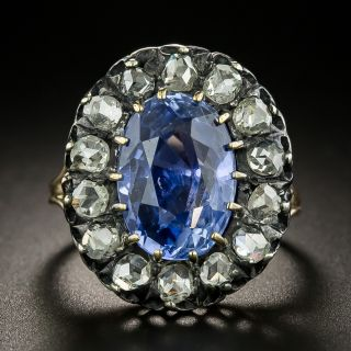 Victorian 6.27 Carat Oval No-Heat Sapphire and Diamond Ring - GIA - 2
