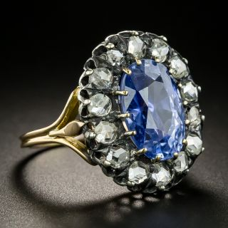 Victorian 6.27 Carat Oval No-Heat Sapphire and Diamond Ring - GIA