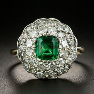 Victorian .70 Carat Emerald and Diamond Ring - 2