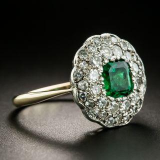 Victorian .70 Carat Emerald and Diamond Ring