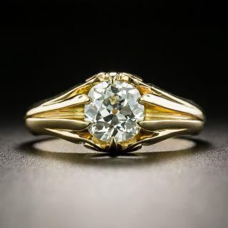 Victorian .78 Carat Old Mine Cut Diamond Solitaire Ring - 2