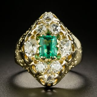 Victorian .80 Carat Emerald and Diamond Ring - 2
