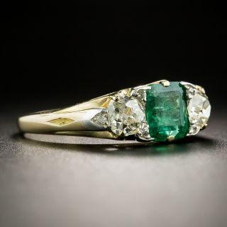 Victorian .80 Carat Emerald and Diamond Ring