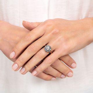 Victorian .87 Carat Diamond Halo Ring - GIA E VS1