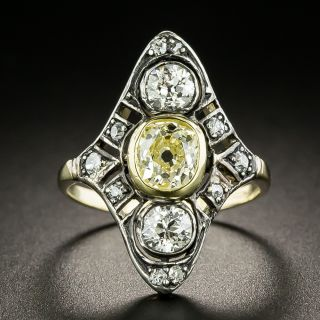 Victorian .88 Carat Yellow and White Diamond Dinner Ring  - 2