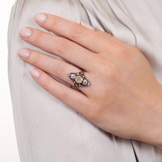 Victorian .88 Carat Yellow and White Diamond Dinner Ring