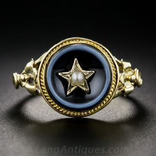 Victorian Agate and Seed Pearl Ring - 1