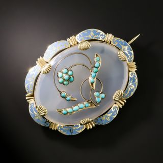 Victorian Agate, Turquoise and Enamel Brooch - 1