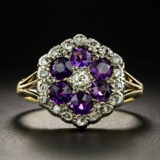 Victorian Amethyst and Diamond Cluster Ring - 2